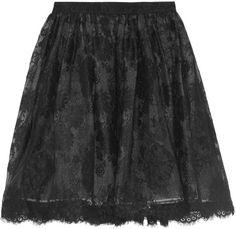 Alice + Olivia Chiara Full Lace Skirt in Black
