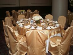 Satin gold chair covers