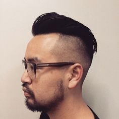 shaved sides Asian men hairstyle