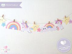 Birthday Bunting, Unicorn Birthday Parties, Unicorn Party, Birthday Favors, 5th Birthday, Birthday Ideas, Unicorn Bedroom Accessories, Rainbow Bunting, Rainbow Cloud