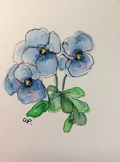 Blue Pansies Watercolor Card / Hand Painted Watercolor Card