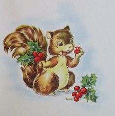 Vintage Christmas Card UNUSED Adorable Squirrel Picking & Eating Holly Berries
