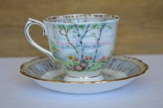Upcycled Teacup Candle - Vanilla Scent - Royal Albert 'Silver Birch' Teacup - c. 1975 by FinerySoaps on Etsy