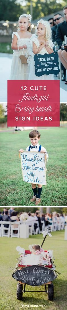 12 Cute Flower Girl + Ring Bearer Sign Ideas - Explore the cutest signs for your flower girls or ring bearers to carry down the aisle on @weddingwire! {Bradley Images Inc.; Taylor Square Photography Co.; Candice Benjamin Photography LLC}