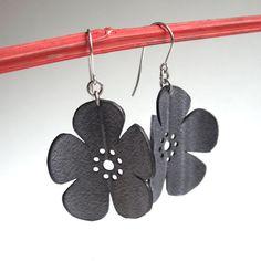 Cherry Blossom Earrings - eco friendly inner tube jewelry - black flower silhouette jewelry