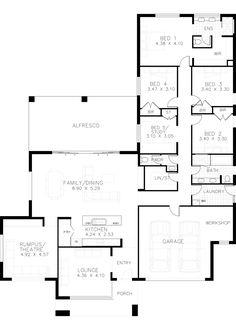 Cambrian House Design Homestead Homes Rawson Home Builders NSW Floor Plan 4 Bedroom, 4 Bedroom House Plans, Dream House Plans, House Floor Plans, The Plan, How To Plan, Rawson Homes, House Plans Australia, Homestead House