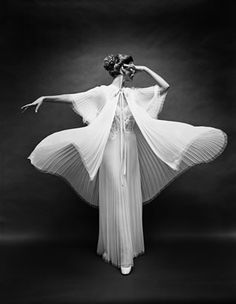 black and white vintage photo. Butterfly robe - Mark Shaw - Vanity Fair