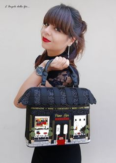 "Vendula London: ""My Piano Bar Grab Bag"" Limited Edition! Unique Handbags, Unique Purses, Unique Bags, Patchwork Bags, Quilted Bag, Fashion Handbags, Fashion Bags, Novelty Bags, Painted Bags"