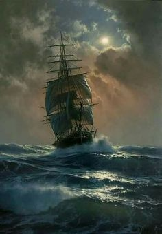Marek Ruzyk is a Polish painter who specializes in marine art. His seascape pain… Marek Ruzyk is a Polish painter who specializes in marine art. His seascape paintings, done in oil, are reminiscent of classic century artworks. Ship Paintings, Seascape Paintings, Bateau Pirate, Old Sailing Ships, Ocean Sailing, Realistic Oil Painting, Painting Art, Nautical Art, Ship Art