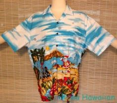 KALAHEO Mens MELE KALIKIMAKA Christmas Hawaiian SURFING SANTA Shirt - Large #Kalaheo #Hawaiian