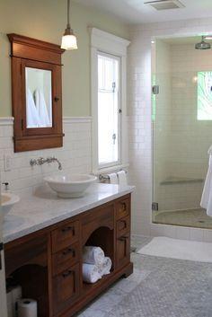 Craftsman Style Bathroom Design Ideas – Top Home Design Craftsman Style Bathrooms, Bungalow Bathroom, Craftsman Interior, Craftsman Style Homes, Craftsman Bungalows, Craftsman Houses, Modern Craftsman, Craftsman Decor, Bungalow Decor
