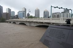 Calgary Flood 2013 - 10th Street Bridge: Also known as the Louise Riley bridge showing some of the recently constructed war memorial.