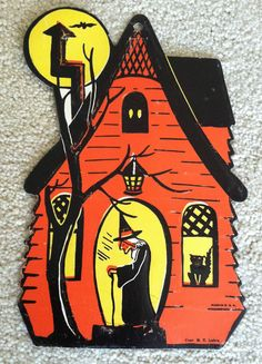 vintage he luhrs halloween paper witch house black cat decoration wall hanging