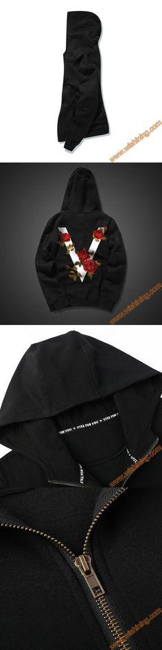 Unique V Rose Design Black Zip Up Hoodie for Men Boy