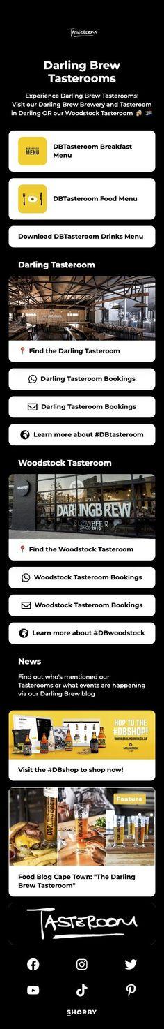 Experience Darling Brew Tasterooms! #pinterestinspired #brewery #woodstockrestaurants New Darlings, Breakfast Menu, Drink Menu, Food Menu, Woodstock, Brewery, Digital Marketing, Social Media, Drinks
