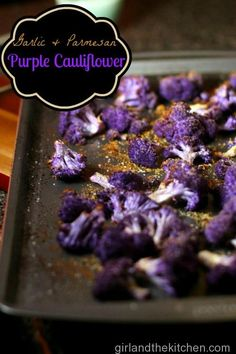 Oven Roasted Purple Garlic and Parmesan Cauliflower. Simple and easy delicious gem cauliflower.