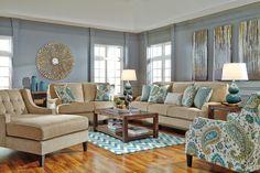 Coastal Living Room Ideas: Lochian Sofa by Ashley Furniture at Kensington Furniture. I love this entire living room design!