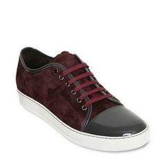Lanvin Wine Low Top Cap Toe Men Discounted Sneakers
