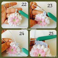Granny Square Crochet Pattern, Crochet Flower Patterns, Crochet Squares, Crochet Motif, Diy Crochet, Crochet Flowers, Crochet Stitches, Crochet Hats, Sunflower Pattern
