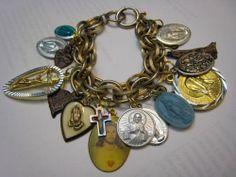 Vintage Virgin Mary Religious Medals Catholic Charm Bracelet