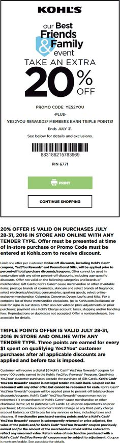 Pinned July 29th: Extra 20% off at #Kohls or online via promo code YES2YOU #TheCouponsApp