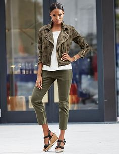 The abstract camouflage print renders this biker jacket an exclusive one-off, while the toning embroidery upon the collar sets feminine accents. Madeleine Fashion, Business Class, Gothic Outfits, Summer Sale, Fashion News, Safari, Khaki Pants, Capri Pants, Style