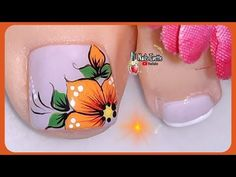 Pretty Toe Nails, Cute Toe Nails, Toe Nail Art, Nail Salon Design, New Nail Art Design, Nail Art Designs, Toe Nail Flower Designs, Pedicure Designs, Sunflower Nails