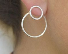 $ 4.95 + Free Shipping Silver double hoops earrings