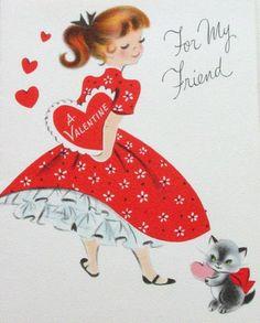 Sweet Vintage Valentine Card with kitten Valentines Greetings, Valentine Greeting Cards, Vintage Valentine Cards, Vintage Greeting Cards, Vintage Christmas Cards, Vintage Holiday, Vintage Postcards, Vintage Images, Holiday Cards