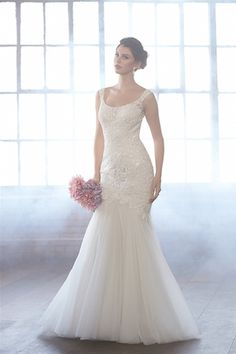 Scoop Mermaid Wedding Dress  with Dropped Waist in Beaded Embroidery. Bridal Gown Style Number:33196890