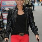 Red jeans w/ a black leather coat
