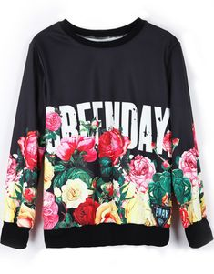 greenday punk roses music floral sweater jumper green day band merch band t-shirt grunge