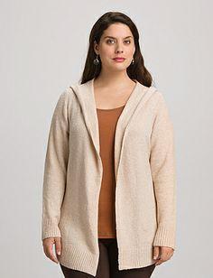 Plus Size Hooded Open Front Cardigan | Dressbarn