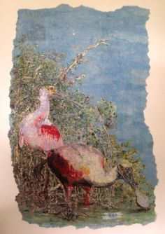 Barbara Green - Pen and ink, water color washes, hot wax. Wax removed at the end with a hot iron and news papers ,ending up with a beautiful Batik on,kinwashi rice paper.