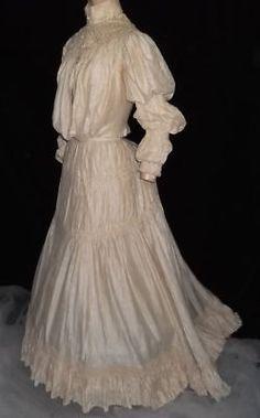 Exquisite Antique 1800′s Victorian Silk Lace Bustle Corset Wedding Gown Dress ~!