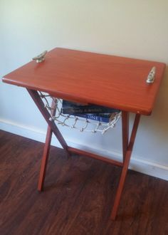 Turn an old, boring TV tray into a nautical end table