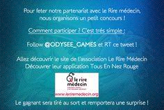 Odysée Games officialise son partenariat avec Le Rire Médecin ! Pour fêter ça, on organise un jeu concours en collaboration JDG Box avec un cadeau à la clé ! Pour participer, cliquez sur le lien vers notre site juste en dessous et découvrez toutes les informations dont vous avez besoin ! On espère que vous serez nombreux à participer et n'hésitez pas à partager ce jeu avec vos amis ! #jeuconcours #OdyseeGames #LeRireMedecin #Twitter #NezRouge #Game