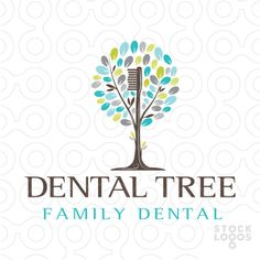 Unique and distinctive dental tree logo that incorporates a toothbrush to represent the tree/truck. This is a modern and fresh