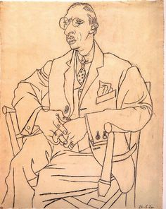 Portrait of Igor Stravinsky Graphite on paper, by Picasso A contour drawing uses the outline of shapes to show the subject using only lines. Picasso uses lines to show the shape of the chair, clothes and person in this drawing. Pablo Picasso, Portraits Illustrés, L'art Du Portrait, Drawing Portraits, Picasso Sketches, Picasso Drawing, Alphonse Mucha, Contour Line Drawing, Human Figures