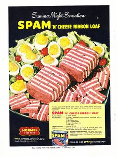 Oh Dear God, Thats a 'Heart Attack' Ribbon Loaf , Better Living, June 1951, Funny Vintage Ads. Spam Recipes, Retro Recipes, Old Recipes, Vintage Recipes, 1950s Recipes, Cooking Recipes, German Recipes, Gross Food, Weird Food