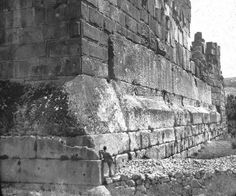 Heliopolis at Baalbek - The upper stone re-constructions were done by the Romans, but the lower 1000 ton stone bricks forming the original foundation... nobody knows. (a ton is 2000lbs)