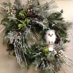 wintry wreaths | Winter snow owl wreath at Something Special Easley SC | Wreaths