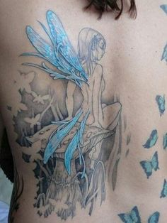 55 Fairy Tattoo Design for Inspiration - blue fairy tattoo. I like the look of all black and grey, then adding one color. Back Tattoos, Great Tattoos, Beautiful Tattoos, Body Art Tattoos, New Tattoos, Tatoos, Wing Tattoos, All Black Tattoos, Color Tattoos