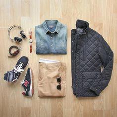 Ready. Set. Weekend. Shoes: @newbalance 1400 Made in USA Jacket: @bonobos Banff Jacket Headphones: @lstnsound Denim Shirt: @llbean Signature Watch: @miansai Chinos: @jcrew 484 Socks: @toddsnyderny @mrgraysocks Belt: @jcrew by thepacman82