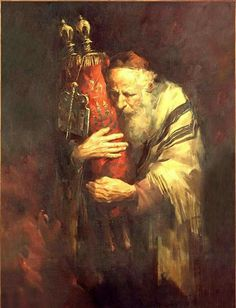 The Torah is the first five books of the Jewish bible which is called the Tanakh. Reading the Torah publicly is one of the bases of Jewish life. Jewish History, Jewish Art, Religious Art, Cultura Judaica, Arte Judaica, Simchat Torah, Messianic Judaism, Jesus Christus, Biblical Art