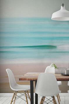 Lose yourself in this hazy beach wallpaper mural. Showing the calm waters gently lapping over the shore, marrying together shades of pastel. Bedroom Wallpaper Beach, Wallpaper Murals, Strand Wallpaper, Beach Wall Murals, Beach Room, Home And Deco, My New Room, Living Room Decor, Dining Room