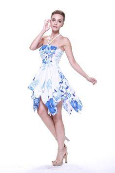 Tropical Hawaiian Luau Wedding Dress Cruise Pool Gypsy White Blue Floral Beach