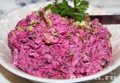 Салат с курицей, свеклой и орехами Сытый четверг, salaty myasnye salaty