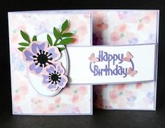 Flower Buckle Card on Craftsuprint - View Now! Studio Cards, Birthday Sentiments, Flower Circle, Hand Made Greeting Cards, Butterfly Birthday, Get Well Cards, Butterfly Cards, Folded Cards, Cricut Design