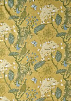 Cobweb - designed by Marthe Armitage, coloured by Georgina von Etzdorf. Linen. Lewis & Wood. £76.80 per metre.
